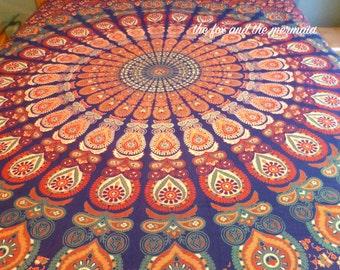 mandala tapestry duvet cover and pillowcases, Indian tapestry doona cover, Boho comforter cover, mandala tapestry boho bedding