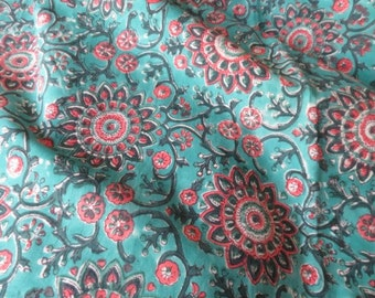 Turquoise Floral Block Print Fabric