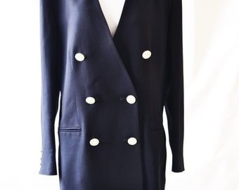 Vintage Navy Blue Blazer Women's Blazer Navy Jacket Blazer By Jaegar Size UK 12