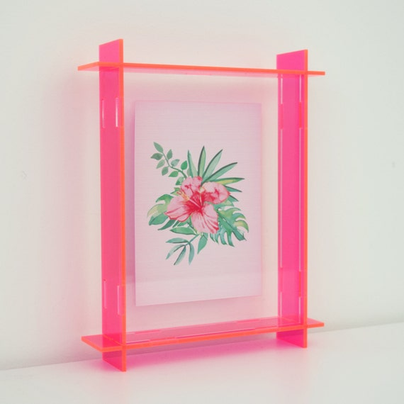 small acrylic box frame neon pink a6 perspex frame floating frame 3d