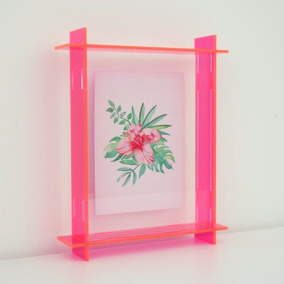 Acrylic Box Picture Frames : Small acrylic box frame neon pink a perspex