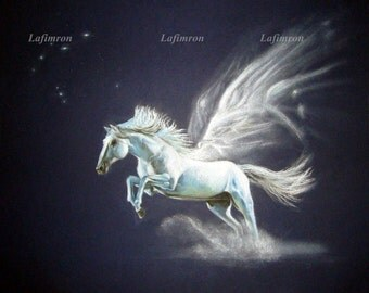 Instant download printable art Digital print Mystical white horse painting Constellation stars Mythical creature Winged pegasus art