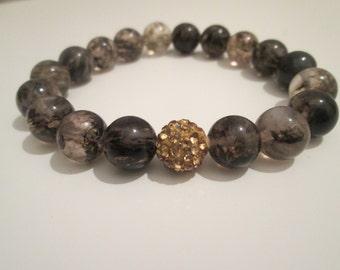 Black Moss quartz bracelet