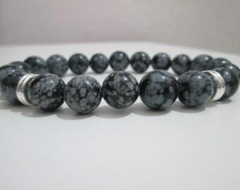 Snowflake Obsidian, obsidian, Obsidian bracelet man snowflake semi-precious stones, gift, gift for men