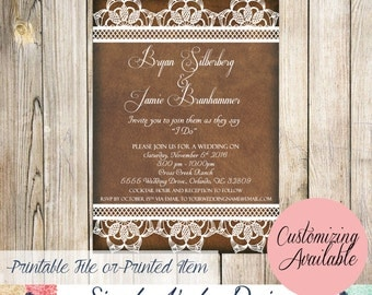 Leather and Lace Rustic Wedding Invitations