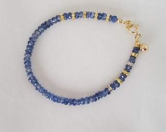 Kyanite Gemstone Gold filled ball Crystal charm bracelet