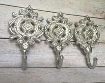 Entryway Coat Hooks - Silver/ or Pick Color - Decorative Wall Hooks - Metal Key Holder - Bathroom Towel Holder - Key Rack - Cast Iron Hooks