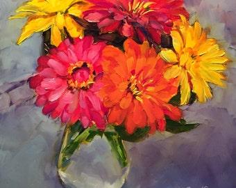 sending love // gerbera daisies // flower art // flower painting // art //painting // original art // gerbera daisy painting // fine art