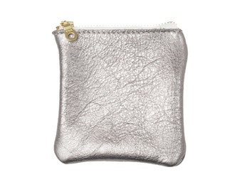 Cherry Ave - Large Silver Leather Coin Purse, Copper Coin Pouch, Change Purse