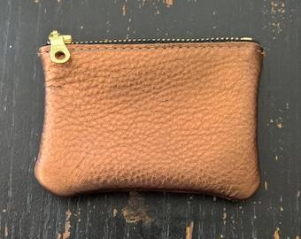 Cherry Ave - Small - Copper Leather Coin Purse, Copper Coin Pouch, Change Purse