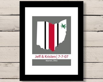 Ohio State Helmet Map Art, Scarlet and Gray Engagement Art, Gift for Him, First Anniversary Gift, Personalized Wedding Gift, Engagement Gift