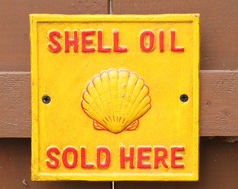 """Shell Oil Sold Here Cast Iron Vintage Style Sign 6 1/2"""" by 6 1/2"""""""