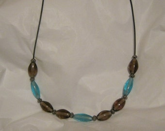 Necklace aqua and blue green beads
