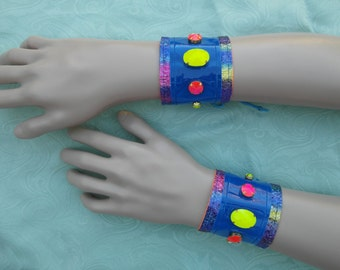 Pair of jewelled rave wristbands