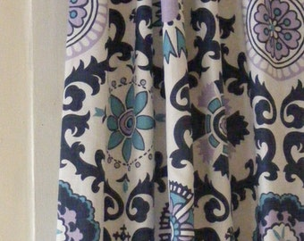 Blue Curtain Panels Suzani Window Curtain Panels  Modern  Window Treament Pairs Lined