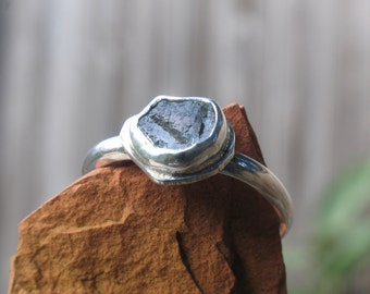 Rough sapphire stack ring in sterling silver