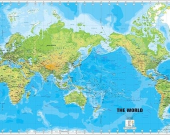 """World Map Large Detailed Physical Silk Cloth Poster 36 x 24"""" 20x13"""""""