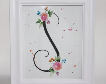 Customized Initial - Watercolor || Painting || Nursery Decor || Initial || Floral || Monogram || Nursery || Nursery Art || Hand Painted