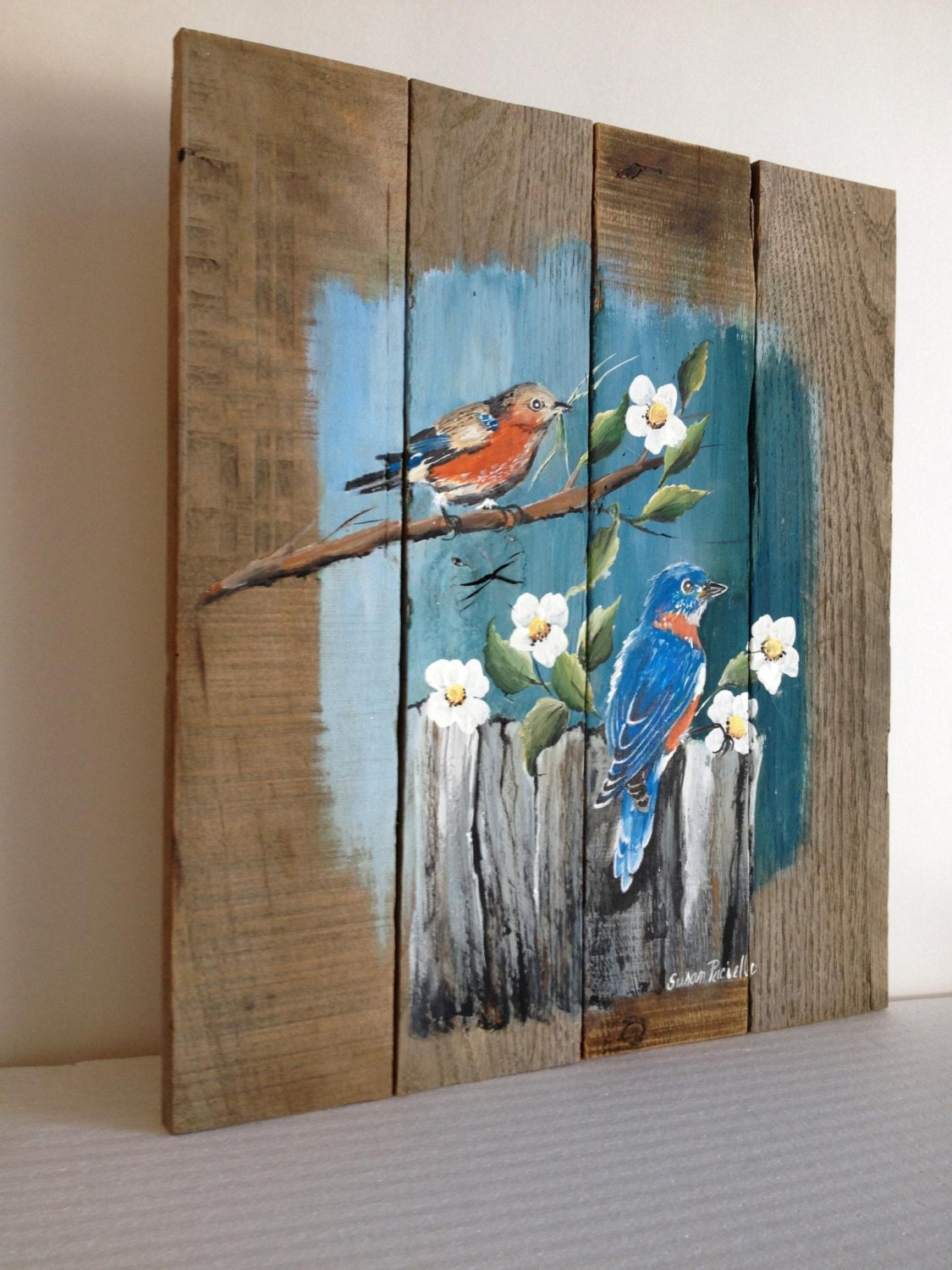Pallet painting distressed wood art pallet art customizable for Mural art on wood