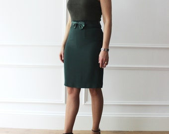 Green shift dress in stretch fabric and knitted bodice cadi, to elegant ceremonies