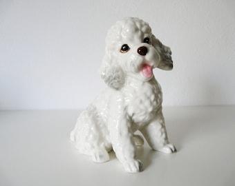 Vintage porcelain white poodle, collectible dog figurine, home decor