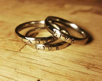 "Three ring stacking set: ""Live Laugh Love"""