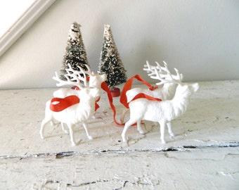Vintage Celluloid Reindeer Deer White Holiday Decoration