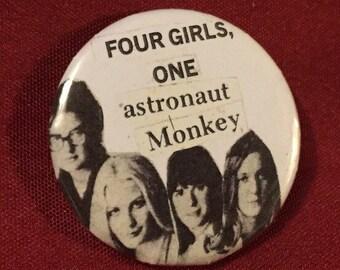 4 girls 1 astronaut monkey 1 1/4 inch button