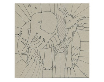 Animals picture 20/20 hand abstract drawing, modern art, picture drawn, unique, elephant, bird animal photos, original drawings