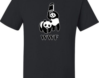 Adult  WWF Funny Fighting Pandas T-Shirt