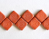Flat Square Bead with Etched Design- Czech Glass Beads - Spiral Design - 15mm x 15mm - Various Colors  - Qty 10