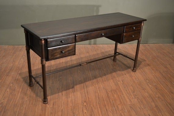 Rustic industrial style solid wood writing desk library table