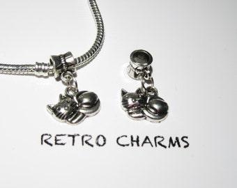 Sterling Silver Cute Kitty Retro Charm
