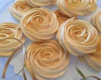 Gold Meringue cookies  ( 24 handmade gold fresh meringue ) wedding cookies