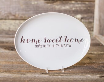 Custom Coordinate Home Sweet Home Platter, Personalized Housewarming Ceramic Serving Platter