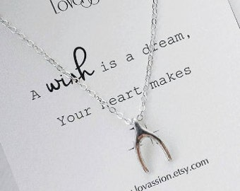 Wishbone Necklace, happy birthday, silver wishbone necklace, make a wish necklace, inspirational, dainty, lucky,tiny, silver, wishbone