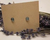 Tiny Teal Blue Mermaid tears/ocean blue studs/Tiny/fused glass studs/bridesmaid gifts/something blue/weddings
