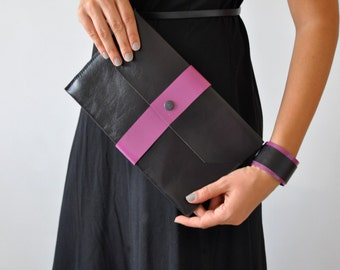 Leather Clutch, Evening Clutch, Black Leather Handbag