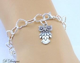 Silver Owl Bracelet, Owl Charm Bracelet, Charm Bracelet, Silver Owl Bracelet, Trendy Bracelet, Gifts for her