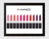 SALE! The Many Shades of Mac Cosmetics Lipstick, 11x8.5 Digital Print, Instant Download