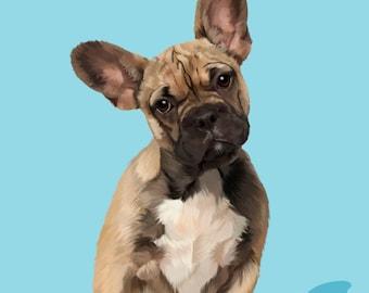 Pet portrait. Custom Dog portrait. Dog art. Personalized pet. Custom dog painting. Custom french bulldog portrait. Pet poster. Dog memorial.