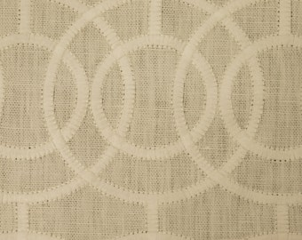 BEACON HILL CROSBY Iconic Embroidered  Geometric Linen Fabric 5 Yards Ivory
