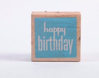 Happy Birthday - text - typography  - minimalist - Rubber Stamp - Vintage ~ 161012B