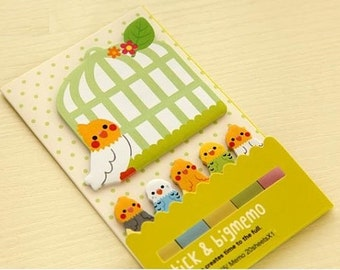 Bird Parrot Sticky Notes - Cute Kawaii Post-It Notes / Kawaii Stationery / Cute Stationary / School Supplies / Memo Pad / Stick and Big Memo