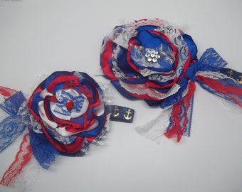 SALE!! red, white, and, blue~ me and my doll, fourth of july matching headband set, doll and girl matching headbands