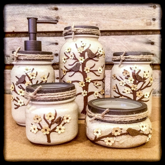 Mason Jar Desk Set Mason Jar Bathroom Set painted Mason Jar