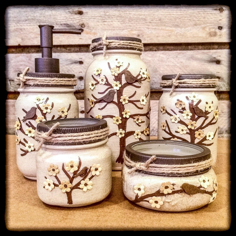 mason jar desk set mason jar bathroom set by americanagloriana. Black Bedroom Furniture Sets. Home Design Ideas
