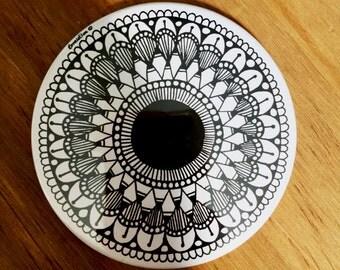 Dark Circular Doodle Zen Pocket Mirror