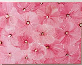Pink Flowers- Acrylic Painting