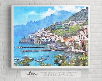 Italy, Amalfi Coast, Province of Salerno - Aquarelle Watercolor Painting Digital Wall Art Instant Download